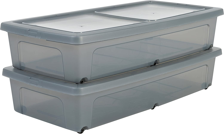Iris Ohyama, lote de 2 cajas de almacenamiento con tapa - Modular Clear Box - MCB-UB, plástico, gris, capacidad 35 L, medidas externas de cada caja 80 x 40 x 16 cm