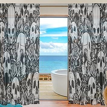 Sheer Voile Fenster Vorhang Vintage Sugar Skull Mexiko Stil Muster Bedruckt  Polyester Material Stoff Für Schlafzimmer