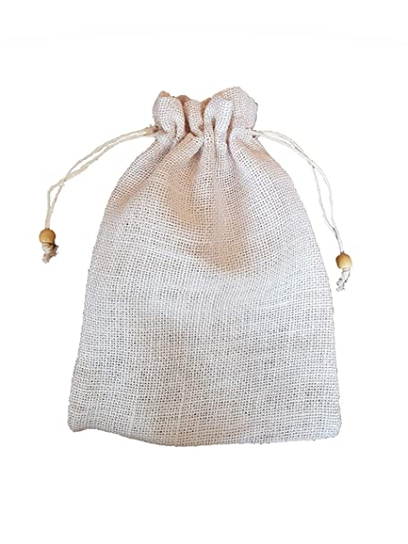 a1850f9b65 Small Plain WHITE Drawstring Jute Hessian Sack (20cm x 27cm) in WHITE  Hessian. PACK OF 25. Bag Code #28WH: Amazon.co.uk: DIY & Tools