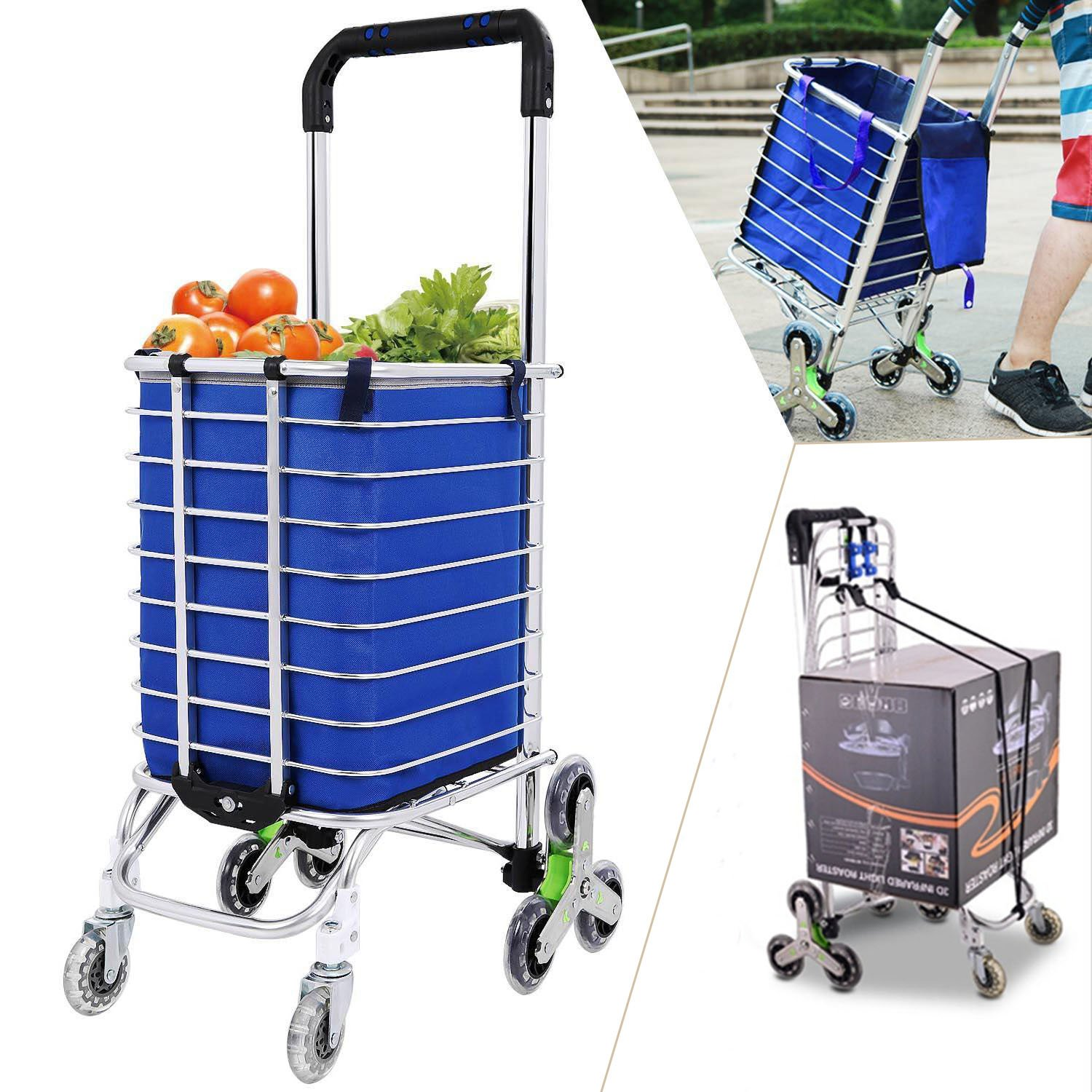 Folding Shopping Cart, Stair Climbing Cart Grocery Laundry Utility Cart with Wheel Bearings, Holds up to 176 lbs