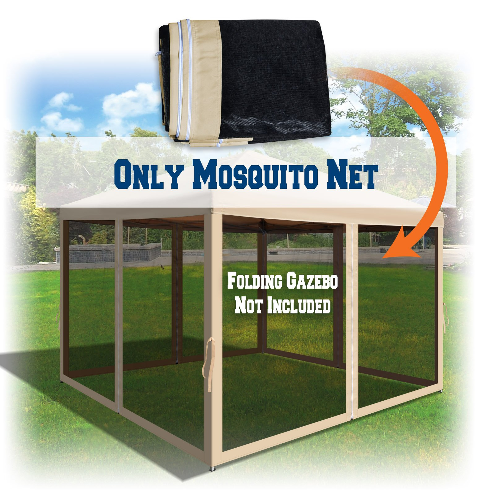 BenefitUSA Replacement Mosquito Netting for 10' x 10' Gazebo, Zippered Mesh Sidewalls Only, Pack of 4 (10' L X 6.4' W for 10' x 10' Gazebo, Beige)
