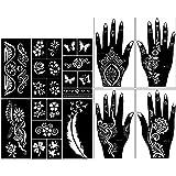 Stencils for Henna Tattoos (10 Sheets) Self-Adhesive Beautiful Body Art Temporary Tattoo Templates, Henna, Flower…