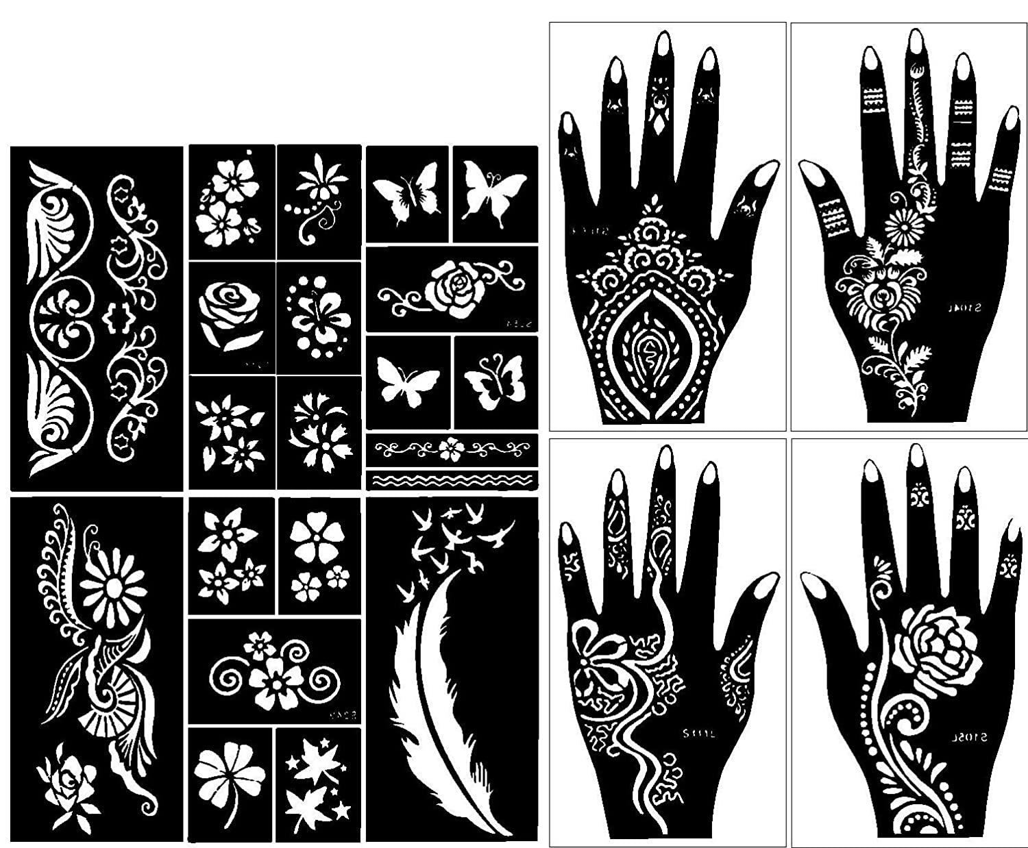 Gilded Girl Self,Adhesive Stencils for Henna Tattoos , Pack of 10
