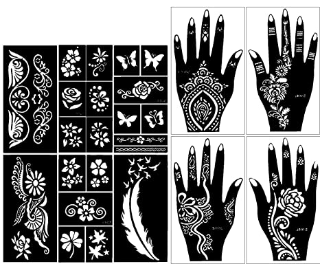3afff70bb06de Amazon.com : Stencils for Henna Tattoos (10 Sheets) Self-Adhesive Beautiful  Body Art Temporary Tattoo Templates, Henna, Flower, Butterfly Designs :  Beauty