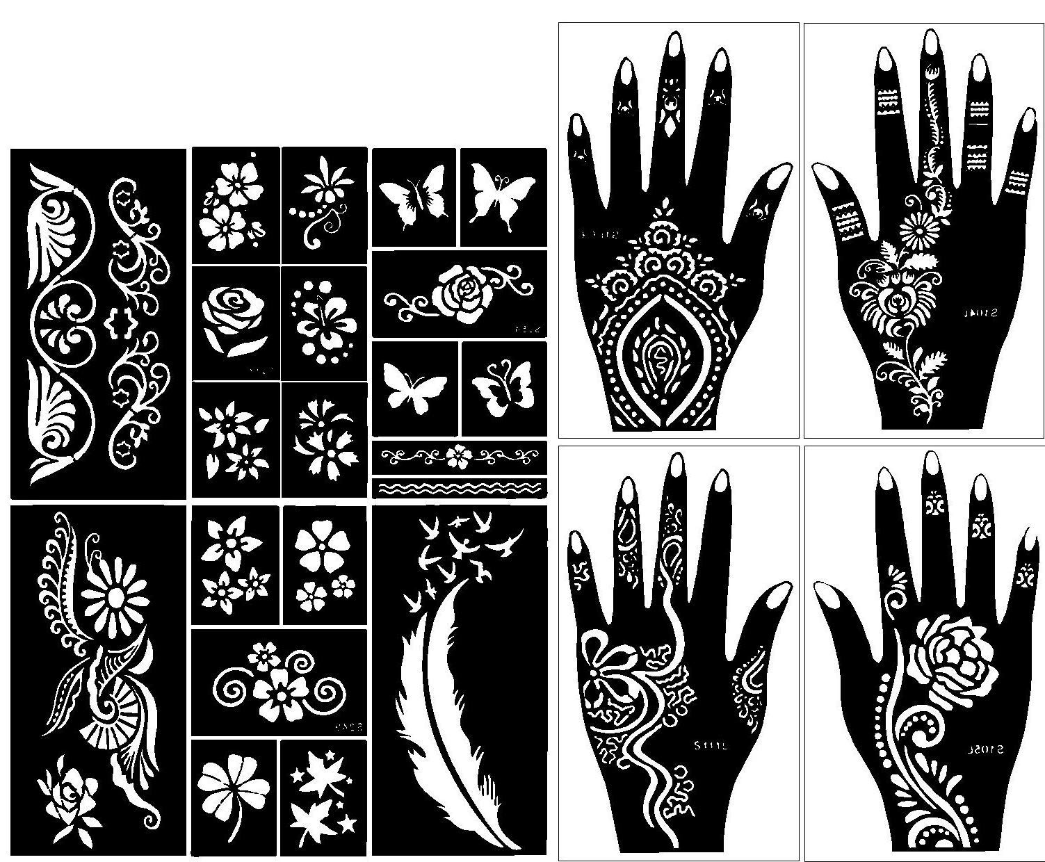 a434d993f0dd3 Amazon.com : Stencils for Henna Tattoos (10 Sheets) Self-Adhesive Beautiful  Body Art Temporary Tattoo Templates, Henna, Flower, Butterfly Designs :  Beauty