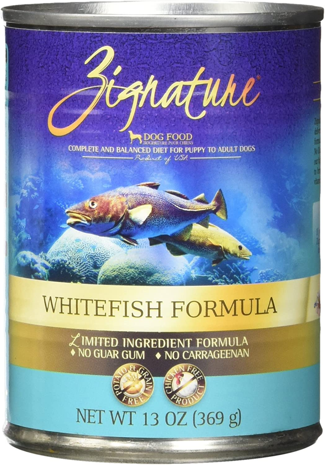 Zignature Whitefish Canned Dog Food Formula 12 13oz