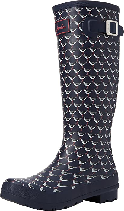 Joules Printed Wellies Kids Rubber Mid Calf Rain Boots In Navy UK Sizes 10-3