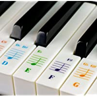 Piano Stickers for 49 / 61/ 76 / 88 Key Keyboards ? Transparent and Removable with Free Piano Ebook