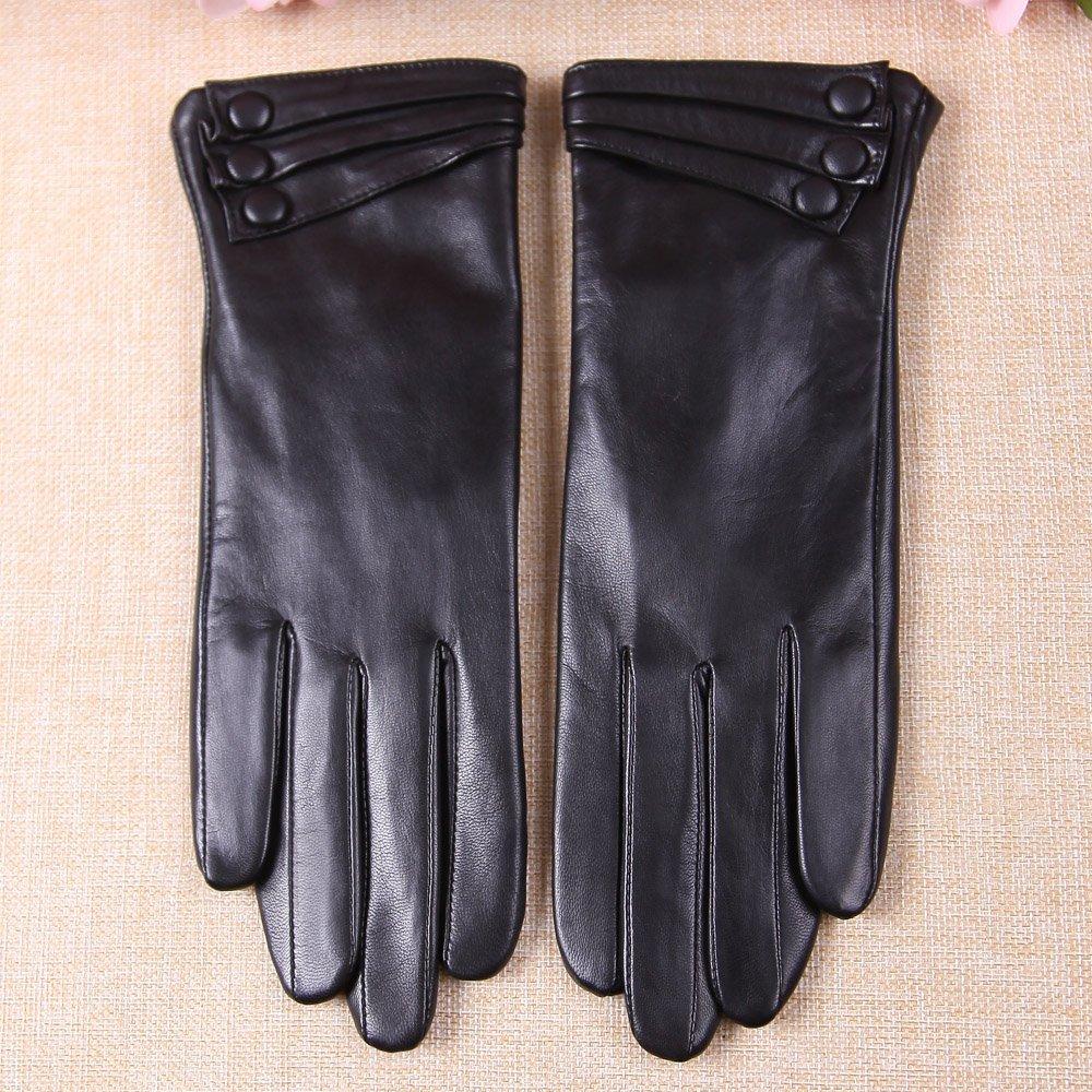 Warmen Women's Touchscreen Texting Driving Winter Warm Nappa Leather Gloves - 6.5 (US Standard size) - Black ( Fleece Lining ) by WARMEN (Image #2)