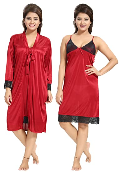 b6006295ff Noty Women s Girls Satin Nighty - 2 Pc- Nightslip with Robe (Maroon ...