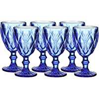 Colored Glass Drinkware 9.5 Ounce Water Glasses Cobalt Blue Diamond Pattern Set of 6