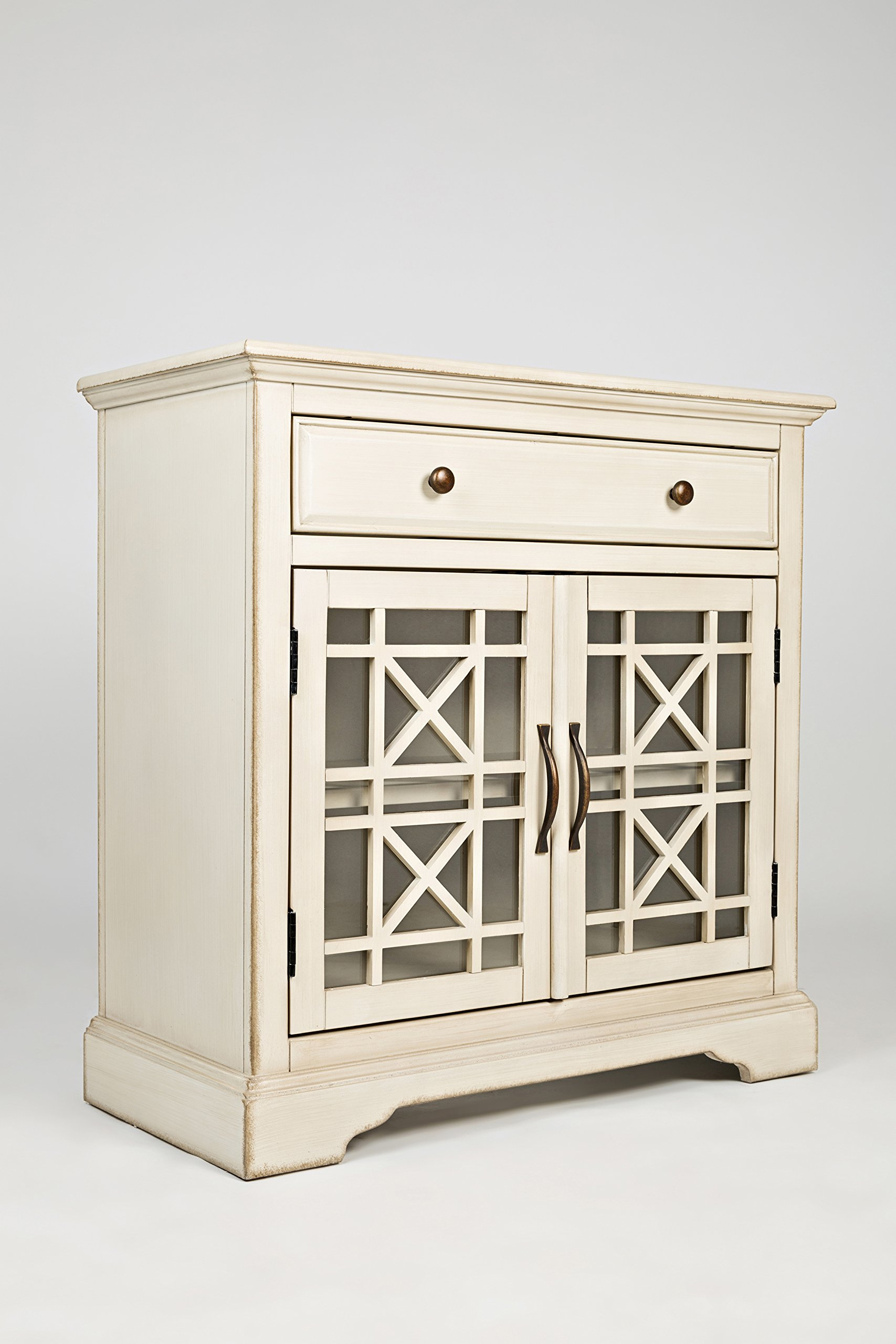"Jofran: , Craftsman, Accent Chest, 32""W X 15""D X 32""H, Antique Cream Finish, (Set of 1) - One drawer Two doors Drawer dimensions: 26""W x 12""D x 8. 75""H - dressers-bedroom-furniture, bedroom-furniture, bedroom - 81W9 3NMGdL -"