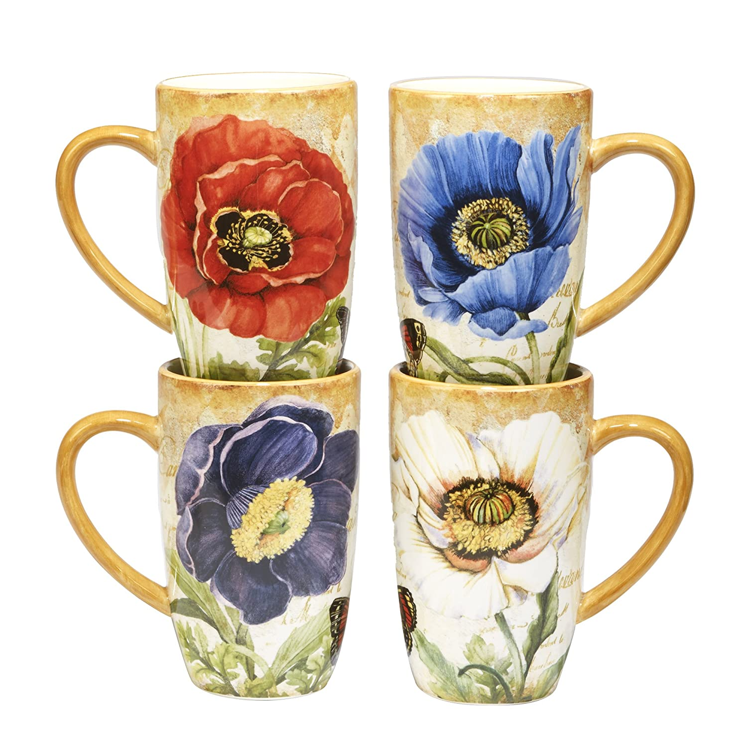 098e2f3fcb9 Amazon.com: Certified International Poppy Garden Mug 14 oz., Set of 4 Assorted  Designs: Kitchen & Dining