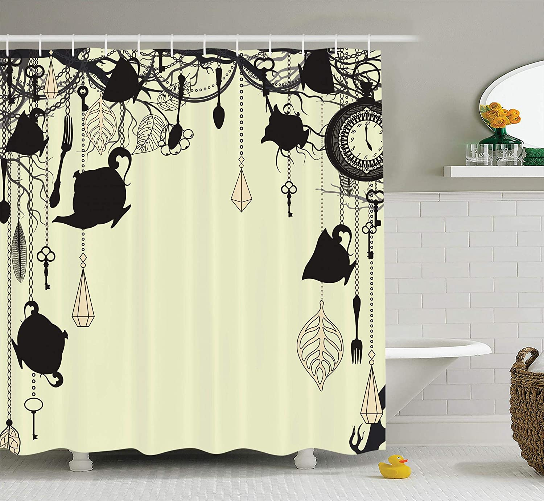 Ambesonne Watercolor Flower House Decor Shower Curtain Yellow Blue Swirled Brushstroke Herbs Romantic Feminine Bloom Home Decor Fabric Bathroom Decor Set with Hooks