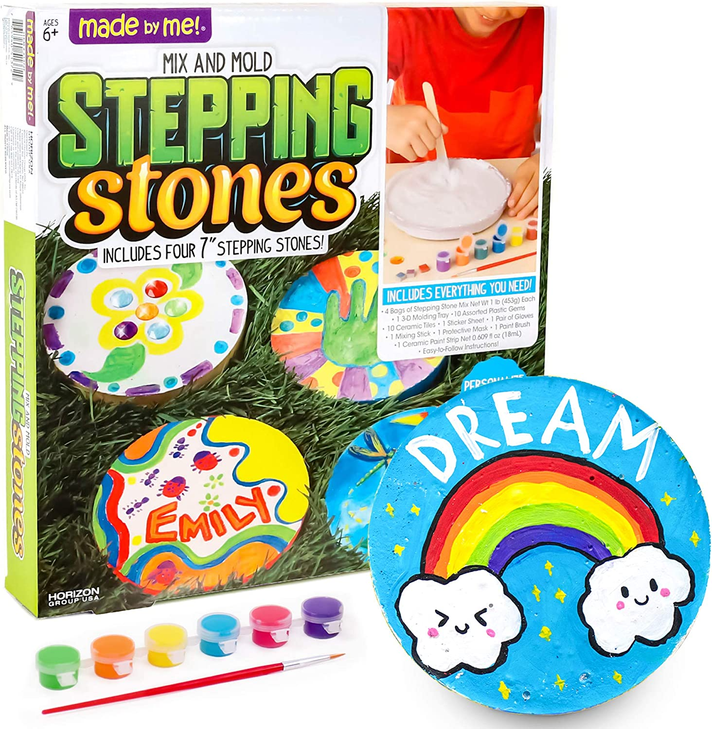 Amazon Com Made By Me Mix Mold Your Own Stepping Stones By Horizon Group Usa Make 4 Diy Personalized Stepping Stones Molding Tray Decorative Gemstones Paint Pots Paint Brush Gloves Sticker Sheet Included Toys
