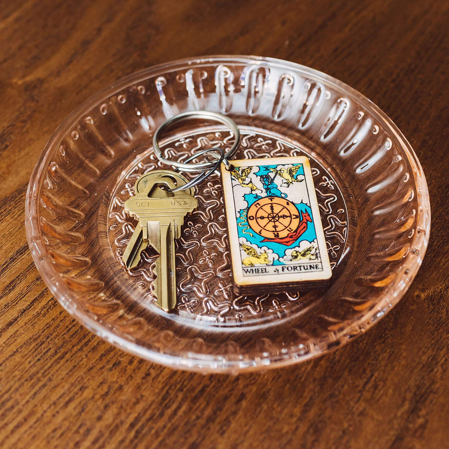 Wheel of Fortune Tarot Card Full Color Wooden Keychain
