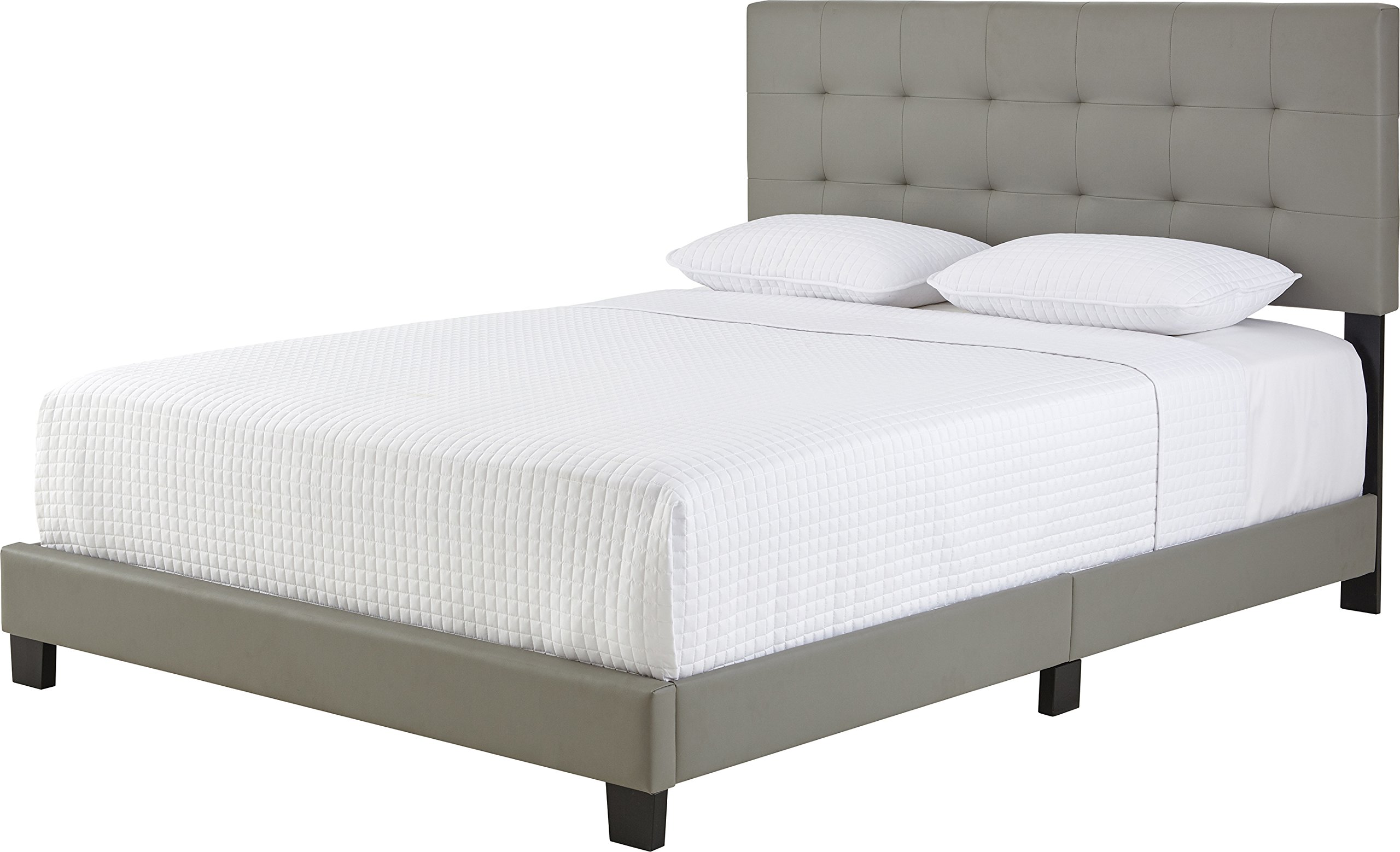 Flex Form Murphy Upholstered Platform Bed Frame with Tufted Headboard: Faux Leather, Grey, Queen by Flex Form (Image #4)