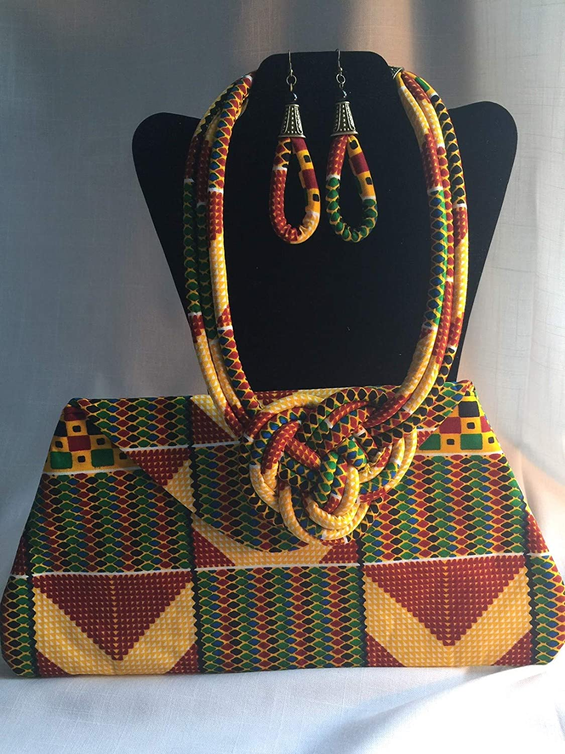 African Print Ankara Necklace With Matching Clutch Bag
