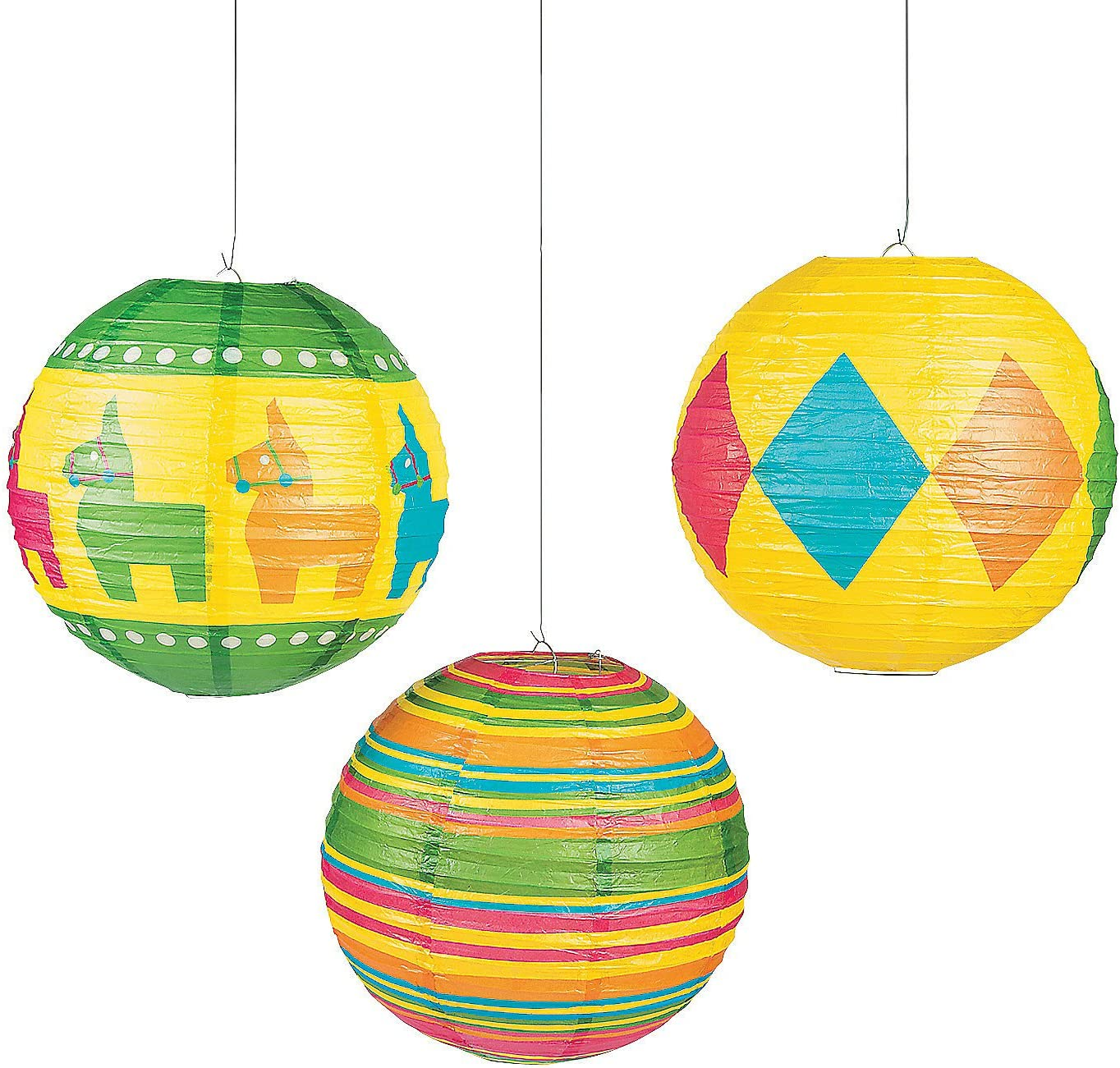 Fun Express - Fiesta Party Paper Lanterns (6pc) for Cinco de Mayo - Party Decor - Hanging Decor - Lanterns - Cinco de Mayo - 6 Pieces