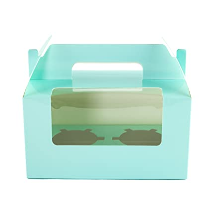 Ibex Retail 10 x Cajas para Cupcakes con Capacidad para 2 Cupcakes, Color Azul