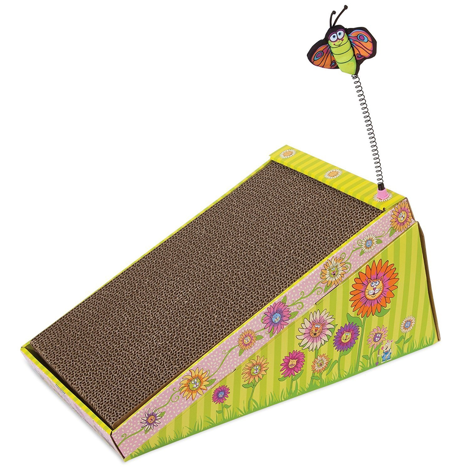 FATCAT Big Mama's Scratch 'n Play Ramp Reversible Cardboard Toy and Catnip Included Bamboo 610403