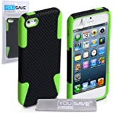 Yousave Accessories Tough Mesh Combo Silicone Cover Case for iPhone 5/5S - Black/Green