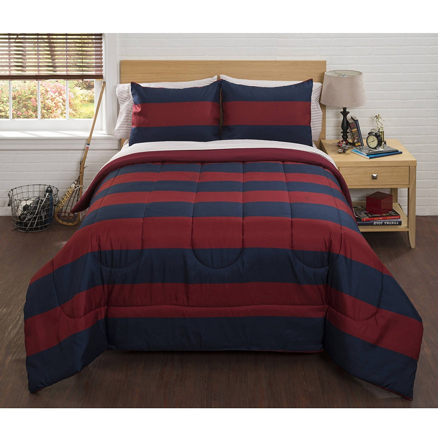 DP 7pc Red Navy Boys Rugby Stripes Pattern Queen Comforter Set Sheets, Sports Striped Nautical Theme, Horizontal Cabana Lines Design, Vibrant Navy Blue Kids, Polyester