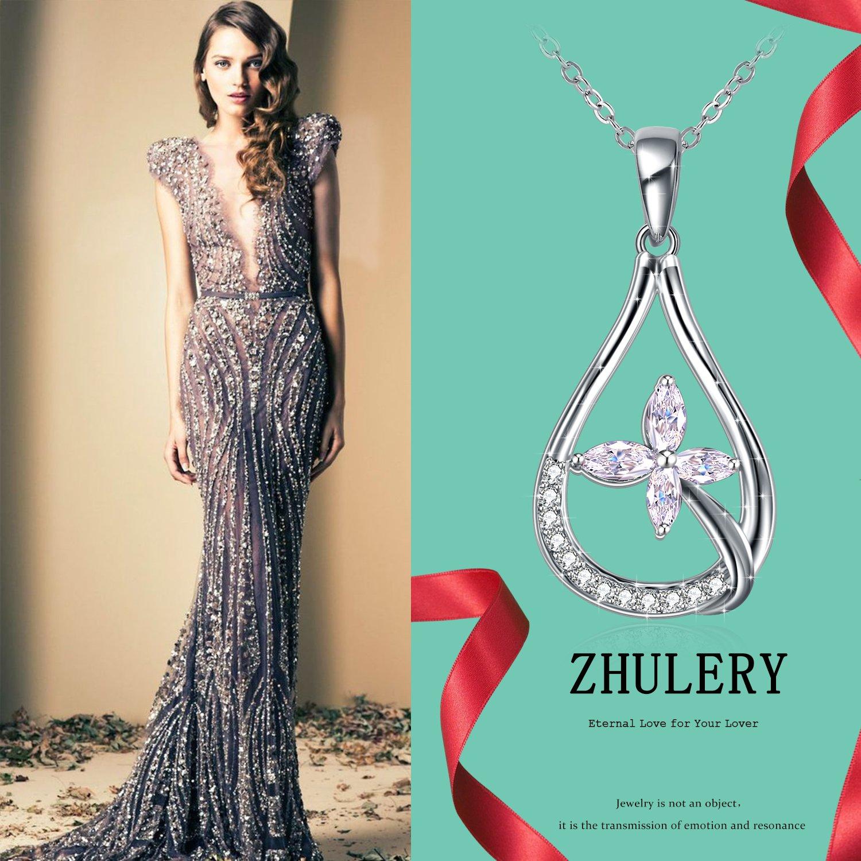 Collier et Boucles doreilles en Argent Femme//Fille ZHULERY Bijoux Bo/îte-cadeau Exquise