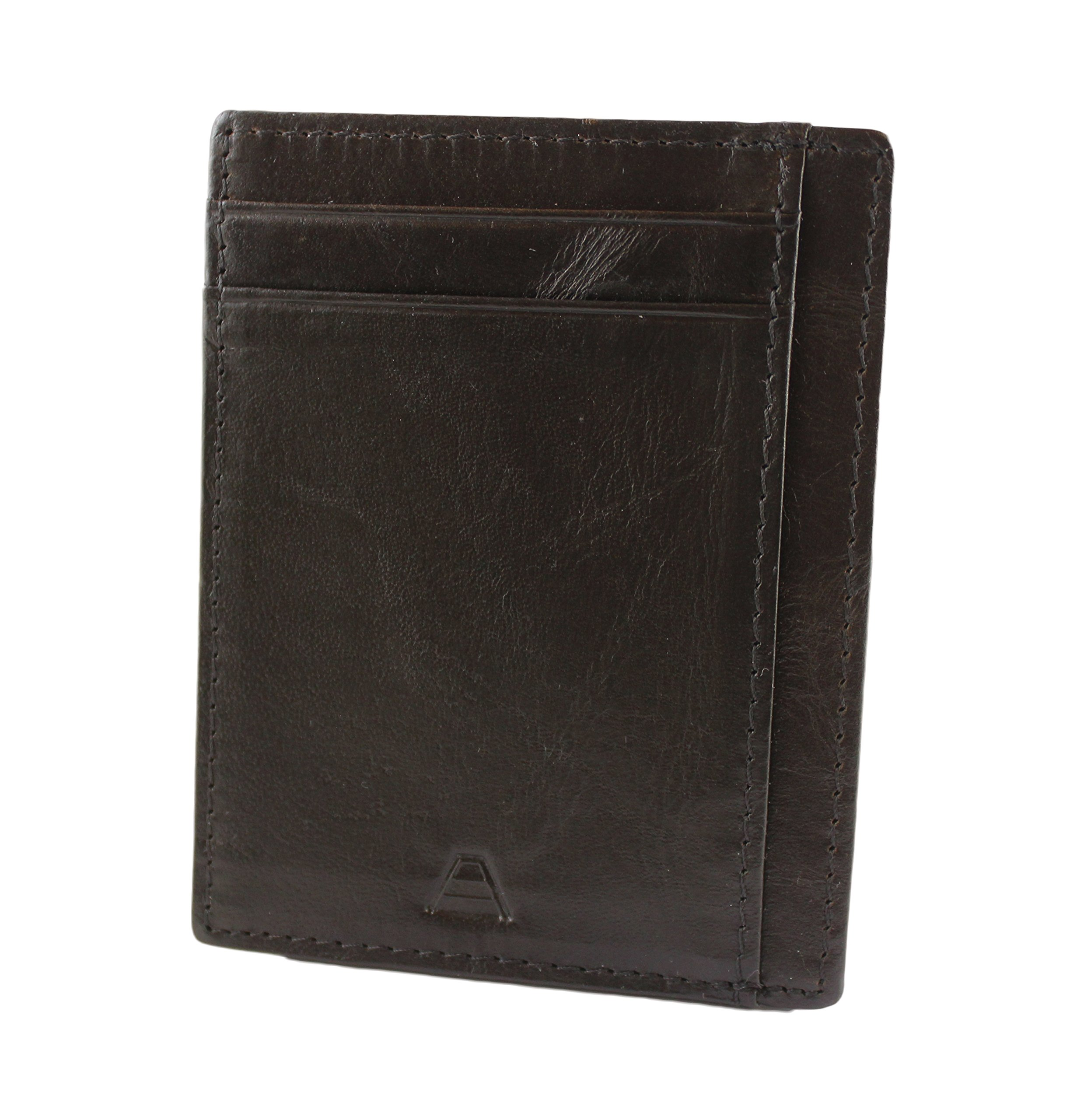Andar RFID Minimalist Front Pocket Wallet - Made of Classy Full Grain Leather (Black) by Andar (Image #4)
