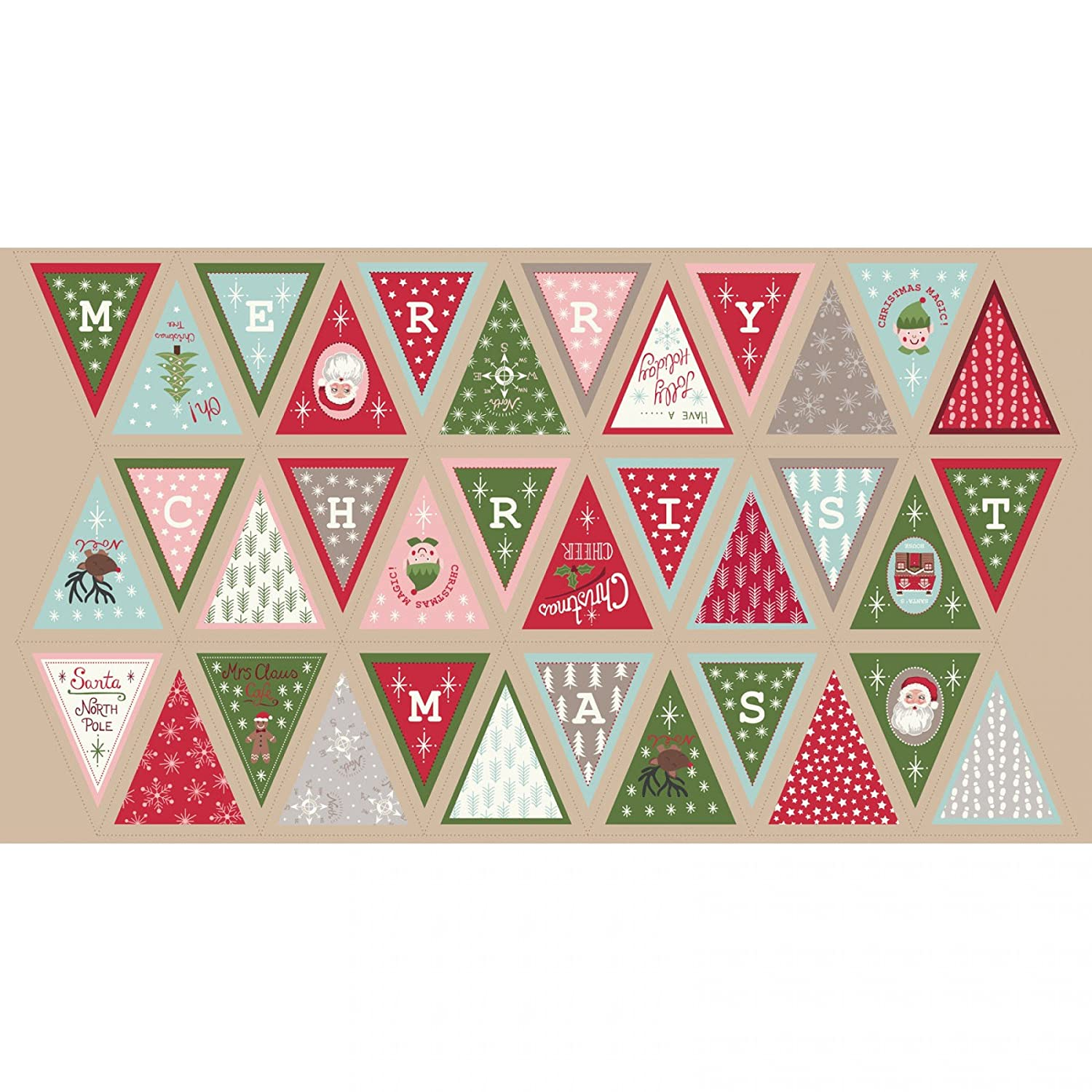Scandinavian Christmas Holiday Bunting Cotton Quilting Panel Fabric Makower 1596