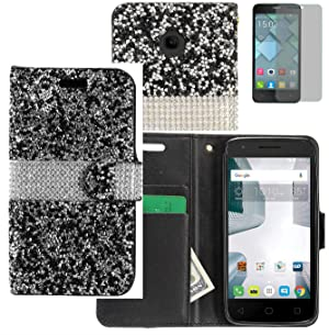 Tempered Glass+Rhinestone PU Leather Flip Wallet Case Cover w/Card Storage for Alcatel Dawn / Alcatel Ideal / Streak / Acquire / One Touch PIXI Avion LTE Phone