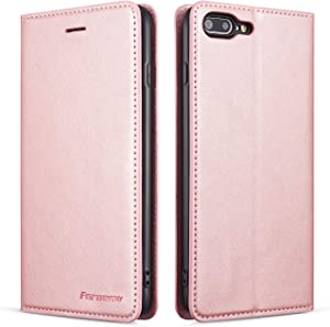 QLTYPRI Case for iPhone 6 Plus 6S Plus, Premium PU Leather Cover TPU Bumper with Card Holder Kickstand Hidden Magnetic Adsorption Shockproof Flip Wallet Case for iPhone 6 Plus 6S Plus - Rose Gold