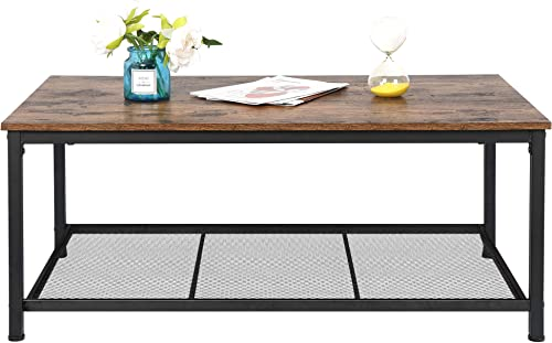 HomGarden Industrial Wood Coffee Table Rustic Brown Cocktail Table
