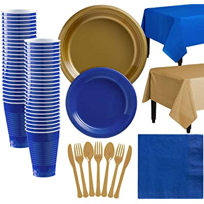 Party City Gold and Royal Blue Plastic Tableware Kit for 50 Guests, 487 Pieces, Includes Plates, Napkins, and Utensils: Kitchen & Dining