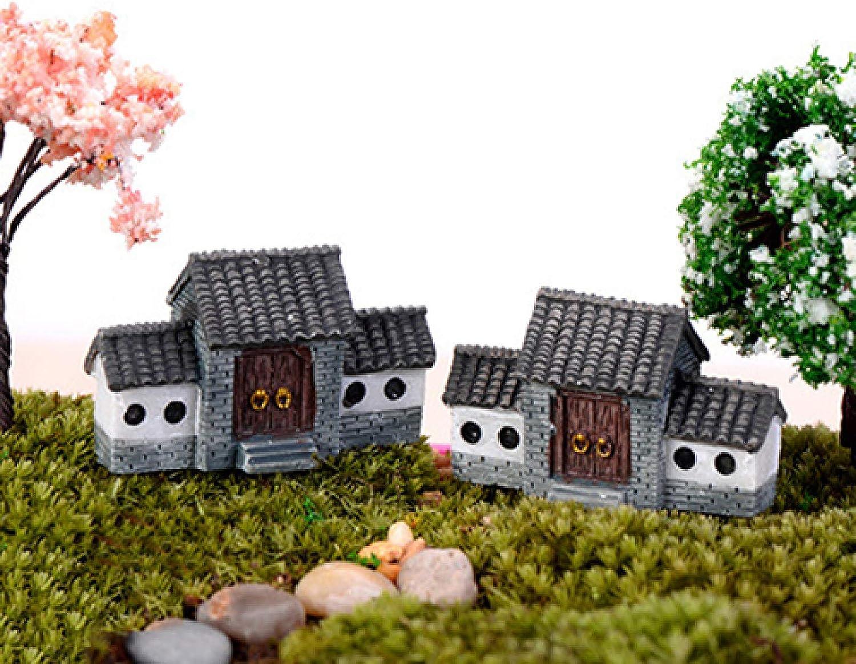 Shuohu DIY House Villa Model for Fairy Garden Dollhouse, Miniatures Woodland Planter Garden Home Decor