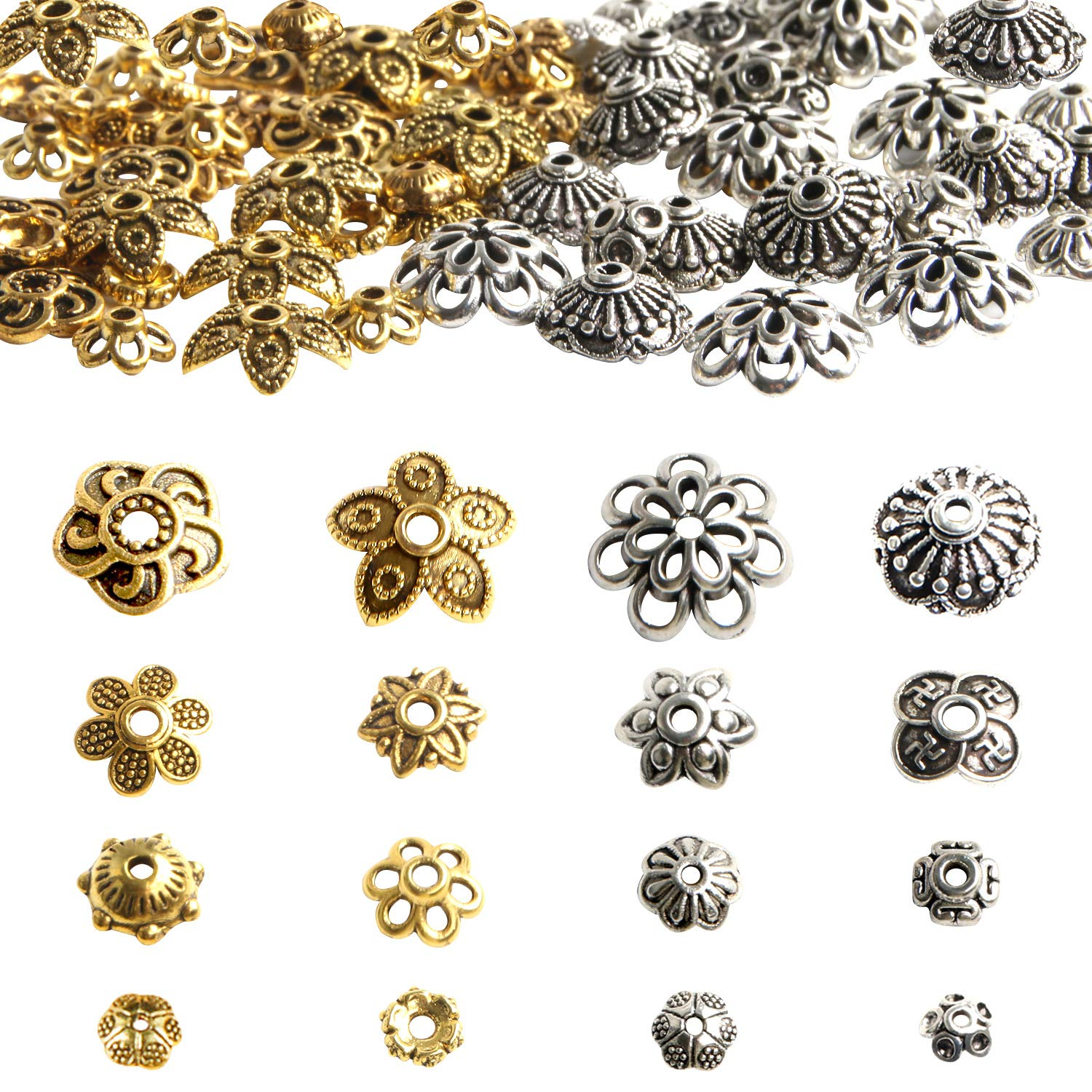 200pcs Top Quality Pretty Filigree Flower 8mm Bead Caps Gold Plated Brass for Jewelry Craft Making CF174-8