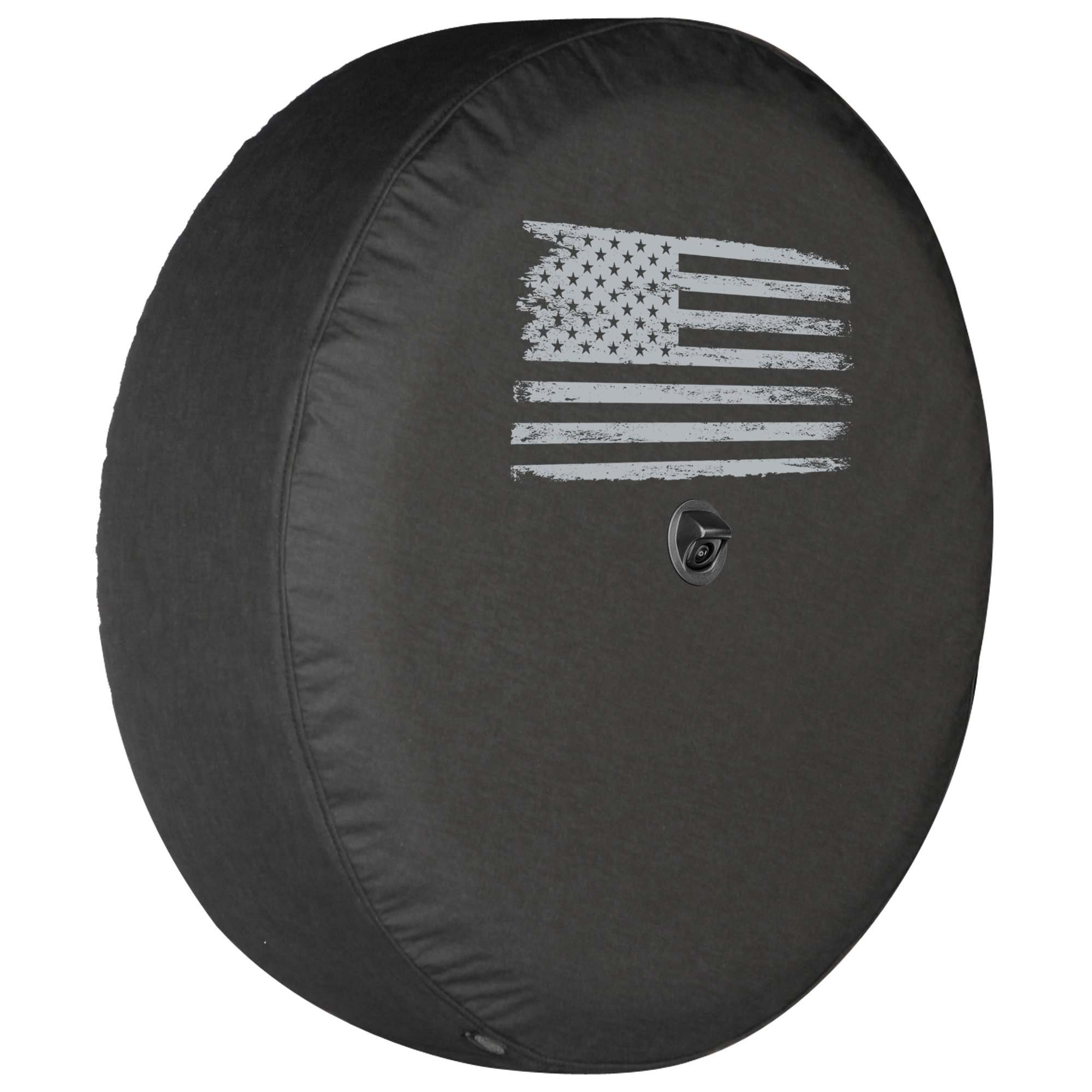 Boomerang - Soft JL Tire Cover for use with 2018-2019 Jeep Wrangler JL Sport (with Back-up Camera) - 32'' (245/75R17) - Distressed American Flag
