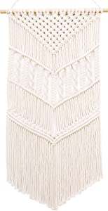 MyHutShop Macrame Woven Wall Hanging - Boho Decor - Off White Tapestry Decoration with Geometric Decor Pattern Great For Apartment Decorations, Chic Bohemian Decor for Home,33 Inches L X 16.5 Inches W