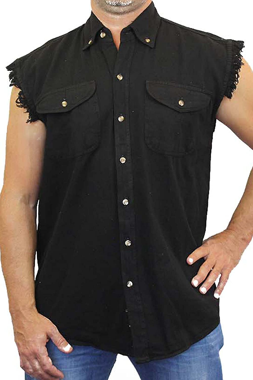 Mens Sleeveless Denim Shirt Freedom Statue of Liberty Biker Vest 5XL LIGHTDENIM