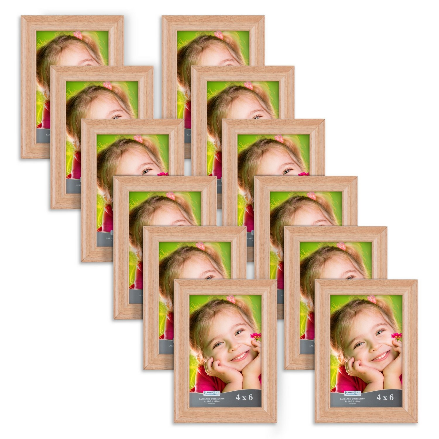 Icona Bay 4x6 Picture Frame (12 Pack, Beechwood Finish), Photo Frame 4 x 6, Composite Wood Frame for Walls or Tables, Set of 12 Lakeland Collection by Icona Bay