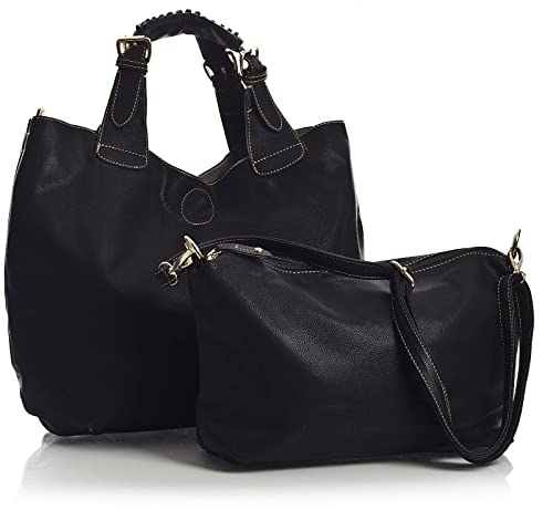e33be3335c Big Handbag Shop Womens Vegan Faux Leather Top Handle Two in One 2 in 1 Tote
