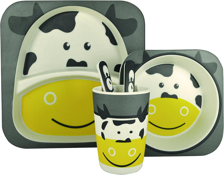 25.5/x 23.5/x 9.5/cm Bambou Jocca Eco Enfants Ensemble de Vaisselle en Motif Vache Gris//Jaune