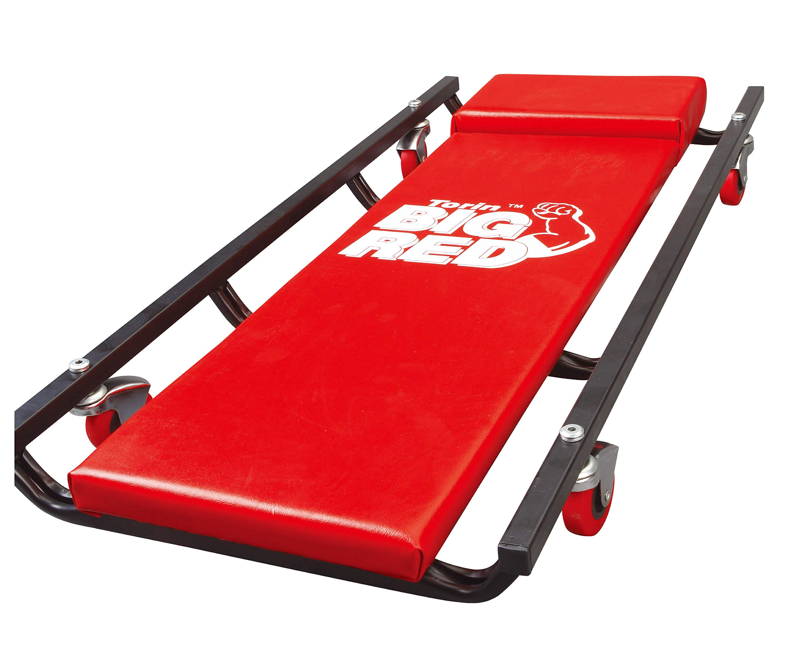 Torin Big Red Rolling Garage/Shop Creeper: 36'' Padded Mechanic Cart with 4 Casters, Red
