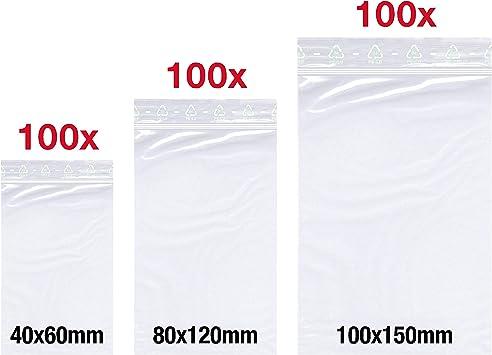 Druckverschlussbeutel ZIP Beutel Folienbeutel 5 Größen Schnellverschluss Tüten
