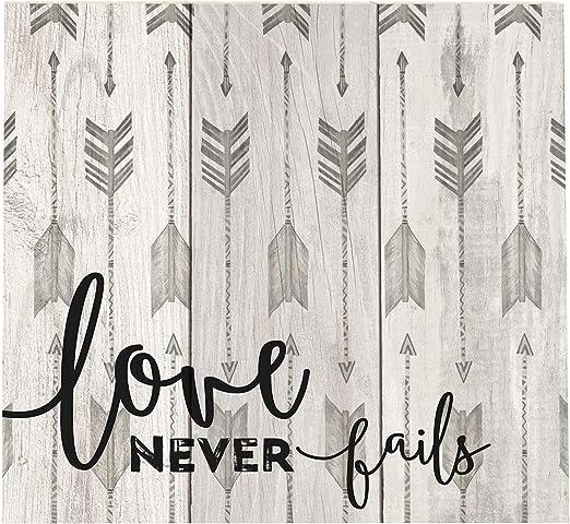 Love nunca falla gris flecha patrón 10 x 11 madera caja palet ...