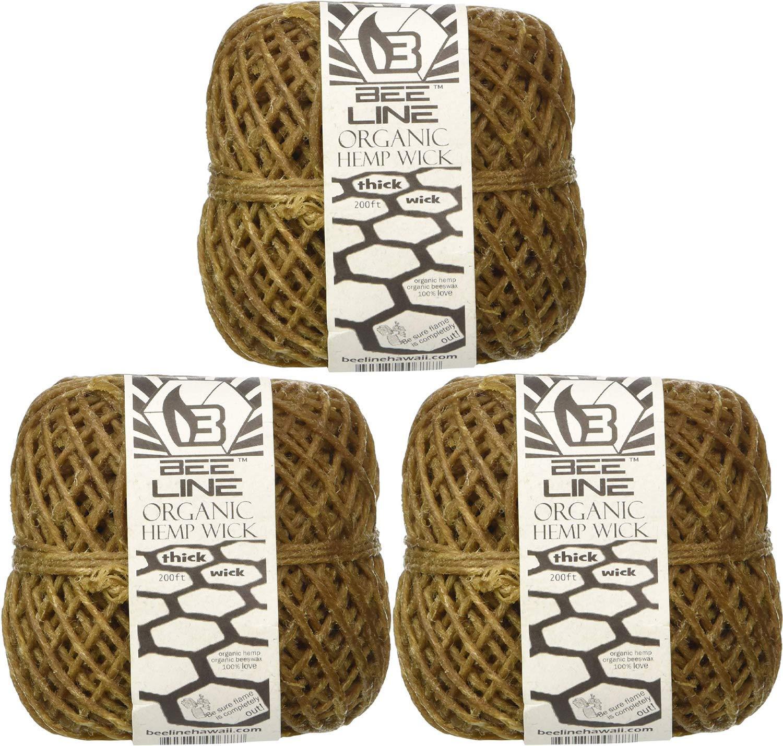 Bee Line 100% Organic Hemp Wick 200 FT Spool Thick Gauge 3 Pack by Bee Line