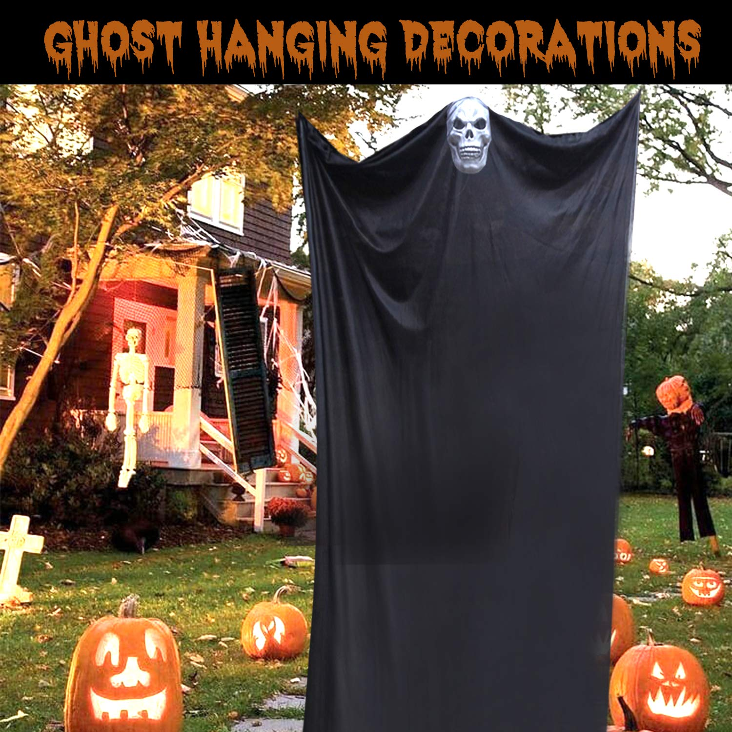 11FT Halloween Prop Hanging Scary Decor Skeleton Flying Ghost Creepy