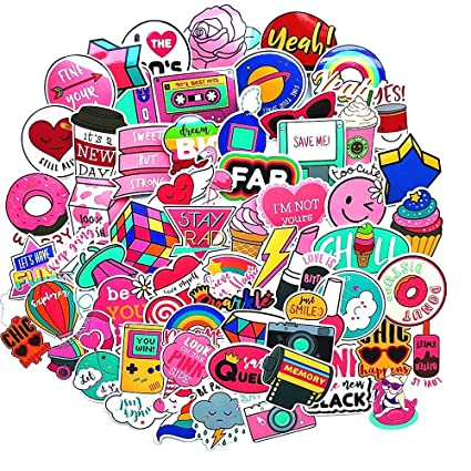 Pink Laptop Sticker For Kids Teens Girls Cute Waterproof Aesthetic Decal Stickers For Travel Case Phone Computer Skateboard Luggage 60pcs Packs
