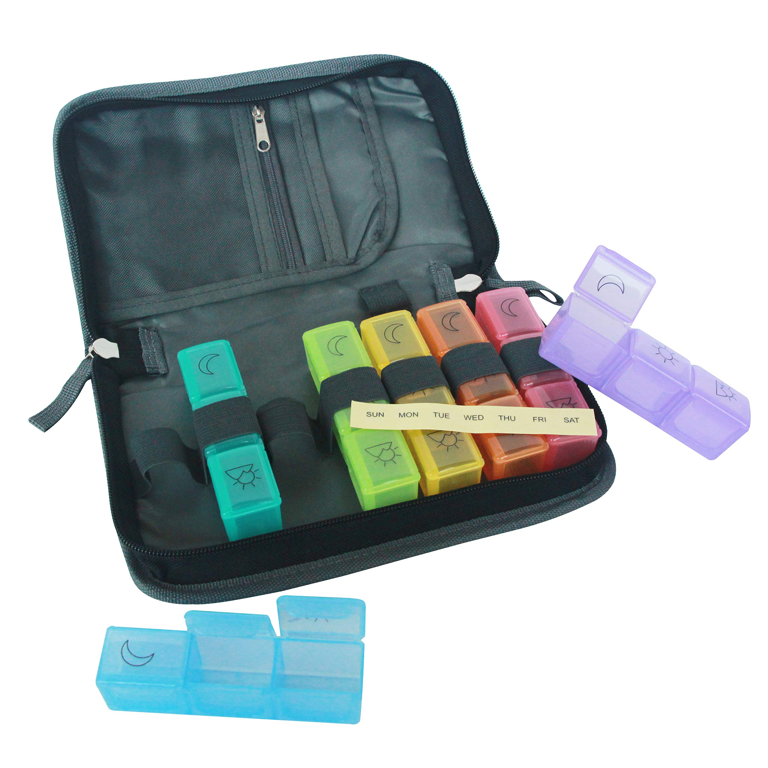 travelbug 21 Compartment Travel Pill Organizer with Premium Polyester Carrying Case | 7 Brightly Colored Daily Pill Boxes with Days of The Week Labels and Elastic Loops