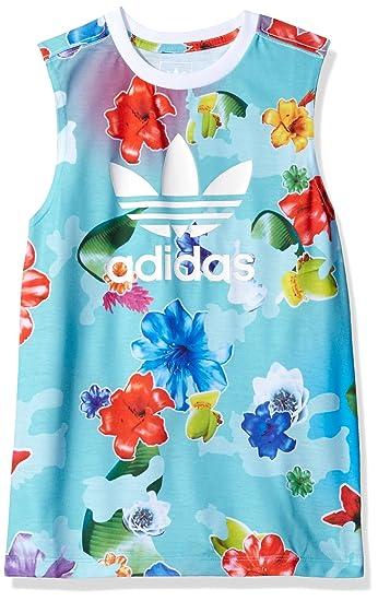 dd8ce3834c140 adidas Originals Tops Big Girls' Flower Long Tank, Floral Multi ...